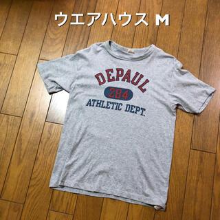 ウエアハウス(WAREHOUSE)のMサイズ!ウエアハウス 古着半袖カレッジTシャツ グレー  DEPAUL (Tシャツ/カットソー(半袖/袖なし))