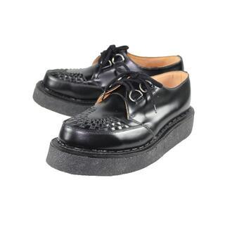 ジョージコックス(GEORGE COX)のGEORGECOXラバーソールシューズ 黒レザー UK9(27.5~28cm)(ブーツ)