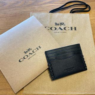 コーチ(COACH)の【美品】COACH メンズ カードケース黒(名刺入れ/定期入れ)