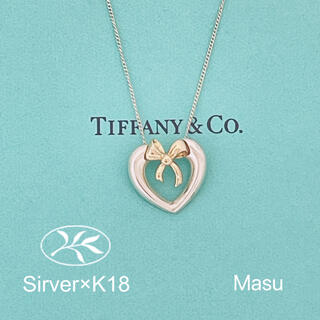 Tiffany & Co. - 希少TIFFANY&Co. ティファニー 18金&シルバーハートリボンネックレス