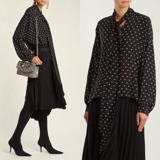 Balenciaga - 美品 BALENCIAGA バレンシアガ   ロゴ 絹 ブラウス りぼん シャツ