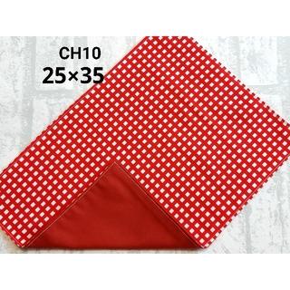 CH10 ランチョンマット チェック柄 レッド ナフキン ハンドメイド(外出用品)