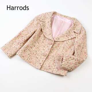 Harrods - ハロッズ★ウール混 ツイード生地 桜ボタン ジャケット サーモンピンク 1(S)