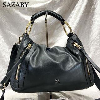 SAZABY - 美品☆エートート 2way サザビー ハンドバッグ ショルダー レザー ブラック