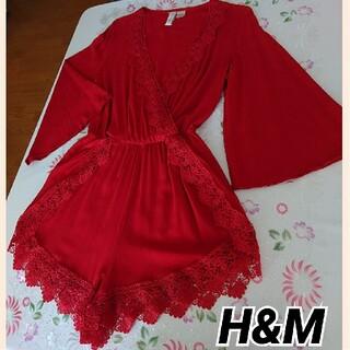 エイチアンドエム(H&M)のH&M  オールインワン  レースショートパンツ  レッド(オールインワン)