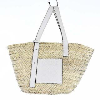 ロエベ(LOEWE)のロエベ バスケットバッグ かごバッグ ナチュラル 白 A223S92X04(かごバッグ/ストローバッグ)