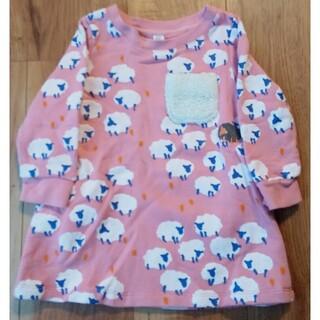グラニフ(Design Tshirts Store graniph)のgraniph★ワンピース★90サイズ★ピンク★羊柄★シープ★ボア(ワンピース)