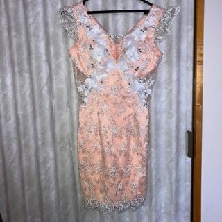 ROBE - robe de fleurs ドレス キャバ サーモンピンク フラワー