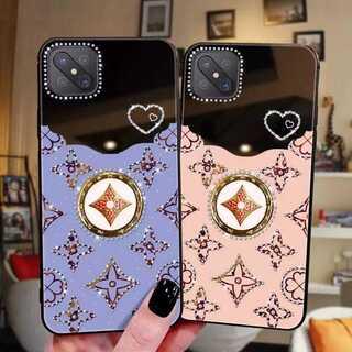 ピンク iPhone12promaxケース カバー ミラー鏡付き リングハート