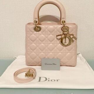 クリスチャンディオール(Christian Dior)の【ChristianDior】LADY DIORカナージュラムスキンペールピンク(ハンドバッグ)