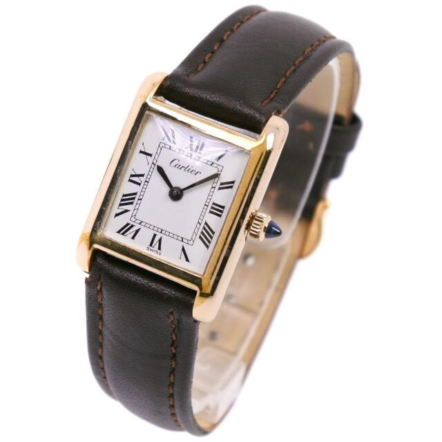 Cartier(カルティエ)のカルティエ タンク 金メッキ レザー 手巻き レディース 白 腕時計 レディースのファッション小物(腕時計)の商品写真