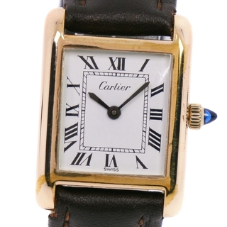 Cartier - カルティエ タンク 金メッキ レザー 手巻き レディース 白 腕時計
