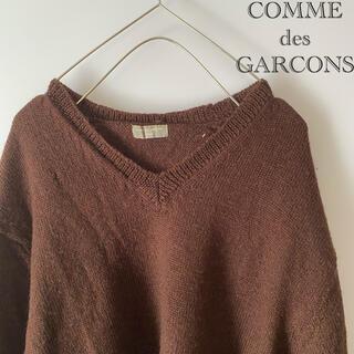 コムデギャルソン(COMME des GARCONS)のCOMMEdesGARCONSHOMMEウール無地ニットセーターmMブラウン茶(ニット/セーター)