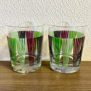 昭和レトロ タンブラー ガラス ロックグラス 放射状 ストライプ グリーン