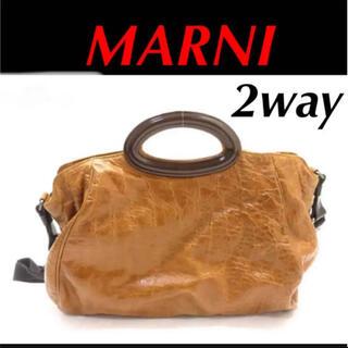 Marni - 【美品】☆ マルニ 2Way ハンドバッグ レザー ショルダーバッグ キャメル