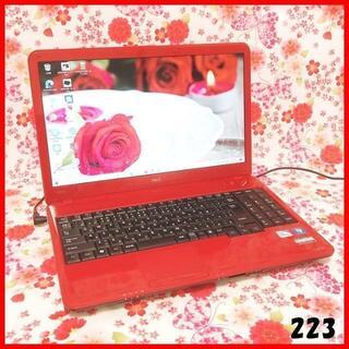 エヌイーシー(NEC)の223希少なレッド♪ノートPC♪Corei5♪新品SSD♪オフィス♪Win10(ノートPC)