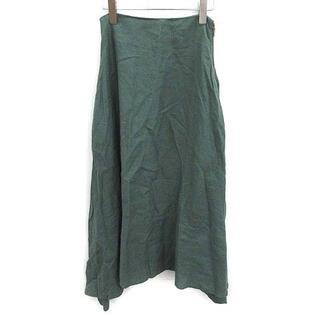 マディソンブルー(MADISONBLUE)のマディソンブルー 18SS フレア スカート ロング リネン 00 XS 緑(ロングスカート)