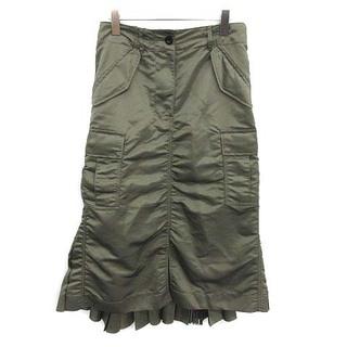 サカイ(sacai)のサカイ 20AW ミリタリースカート ロング プリーツ 切替 ミモレ 2 カーキ(ロングスカート)