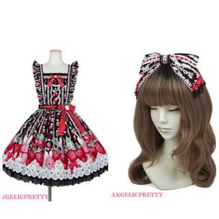 アンジェリックプリティー(Angelic Pretty)のLittle bunny strawberry セット 黒(ひざ丈ワンピース)