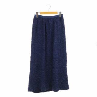 ドゥロワー(Drawer)のドゥロワー 16Gフクレジャカードニットスカート ロング フレア 青(ロングスカート)