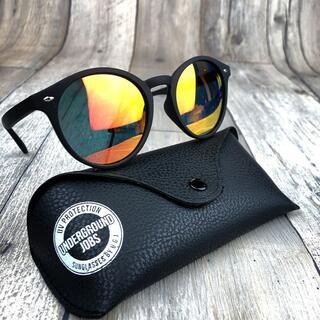 偏光サングラス UV400 マットブラック/オレンジミラー ウェリントン