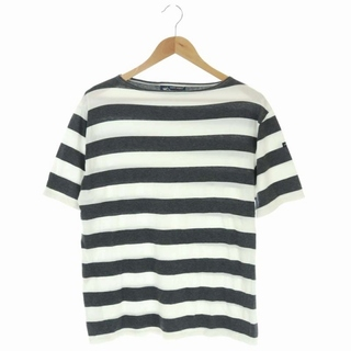 セントジェームス(SAINT JAMES)のセントジェームス Tシャツ カットソー ボートネック 半袖 ボーダー M グレー(Tシャツ/カットソー(半袖/袖なし))