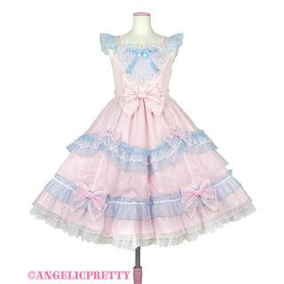アンジェリックプリティー(Angelic Pretty)のトッピングハートジャンパースカート ピンク(ひざ丈ワンピース)