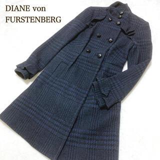 ダイアンフォンファステンバーグ(DIANE von FURSTENBERG)のダイアンフォンファステンバーグ ロング コート チェック フリル(ロングコート)