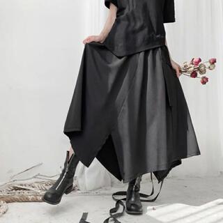 【即購入可】モード系ロングスカートキュロット ブラック(キュロット)