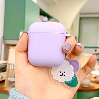 【ラスト1点】韓国 airpodsケース アクリルキーホルダー セット 紫(その他)