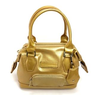 ロンシャン(LONGCHAMP)のロンシャン ロゴ バッグチャーム付がま口 女性用バッグ ゴールド パテントレザー(ハンドバッグ)