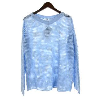マーロ(malo)のマーロ malo ニット 透かし編み 長袖 カシミヤ ブルー S 210921E(ニット/セーター)