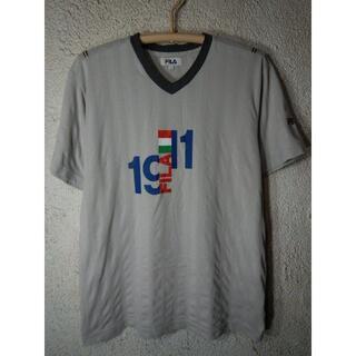 FILA - o3748 FILA フィラ 半袖 Vネック リンガー プリント tシャツ