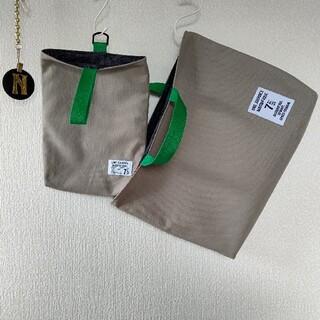 再販☆グレー×グリーン レッスンバッグ 上履き入れ(バッグ/レッスンバッグ)