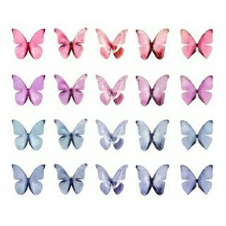 パステルカラーの蝶シールグラデーションセット