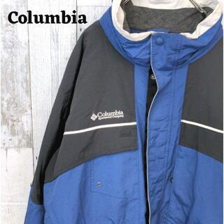 コロンビア(Columbia)の美品 90s コロンビアマウンテンパーカー企業ロゴブルー(青)ブラック(黒)4L(マウンテンパーカー)