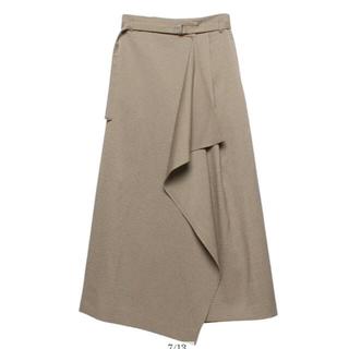 Noble - anuans ラップドレープスカート カーキベージュ