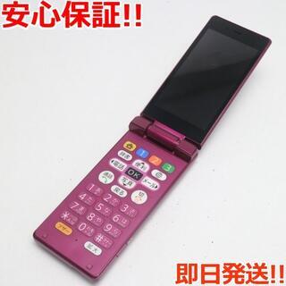シャープ(SHARP)の美品 505SH ワインレッド 本体 白ロム (携帯電話本体)