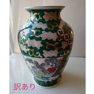 【訳あり】有田焼 秀峰 花瓶 (緑) アンティーク