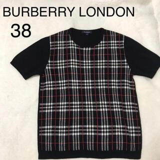 バーバリー(BURBERRY)の美品!バーバリー 半袖ニットトップス ブラックノバチェック 38(ニット/セーター)