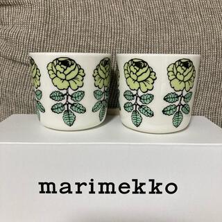 マリメッコ(marimekko)のマリメッコ ヴィヒキルース ウエディングローズラテマグ ライトグリーン(食器)