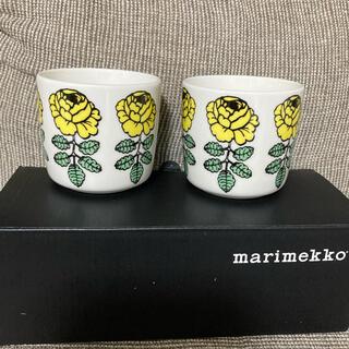マリメッコ(marimekko)のマリメッコ ヴィヒキルース ウエディングローズラテマグ イエロー 黄色(食器)