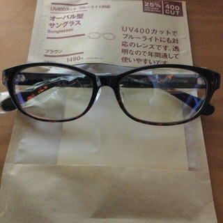 ムジルシリョウヒン(MUJI (無印良品))の無印良品 ブルーライト対応 オーバル型サングラス ブラウン(サングラス/メガネ)