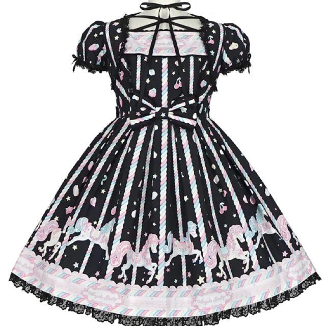Angelic Pretty(アンジェリックプリティー)のSugary Carnival ワンピース黒 カチュ付き レディースのワンピース(ひざ丈ワンピース)の商品写真