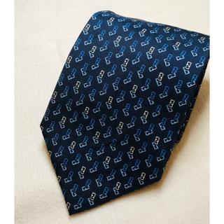 フェンディ(FENDI)の 【 FENDI 】フェンディ ロゴ入りネクタイ/ブルー  シルク100% (ネクタイ)