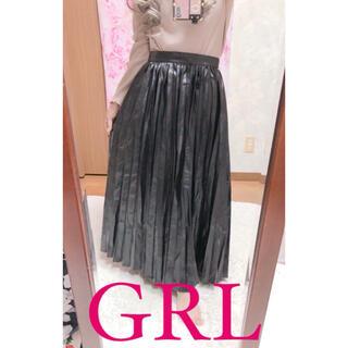 グレイル(GRL)の4028.GRL 合成レザー プリーツ ロングスカート ブラック(ロングスカート)