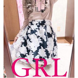 グレイル(GRL)の4029.GRL シフォン 花柄 ハイウエスト ミニスカート(ミニスカート)