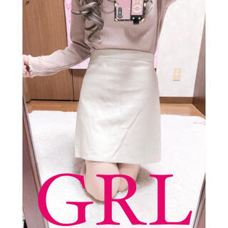 グレイル(GRL)の4030.GRL 合成レザー ベージュ ハイウエスト タイトスカート(ミニスカート)