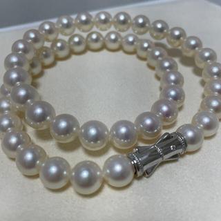 タサキ(TASAKI)のタサキ K18 ダイヤ付き留め金 8.5〜9㎜ パールネックレス 美品(ネックレス)