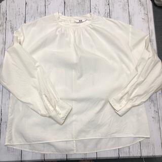 UNIQLO - 【UNIQLO】スタンドカラー  シャツ  綿  白